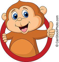 mono, lindo, caricatura, arriba, pulgar