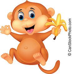 mono, lindo, comida, plátano, caricatura