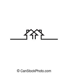 Mono line real estate house logo icon design template