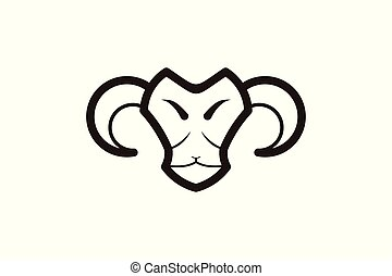 mono line sheep, goat head logo
