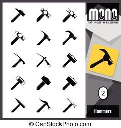 mono, martillos, 2, -, iconos
