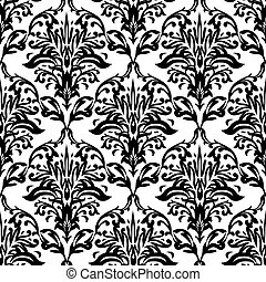 Black and white seamless repeat design with a floral theme