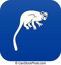 mono tití, azul, icono, mono, digital