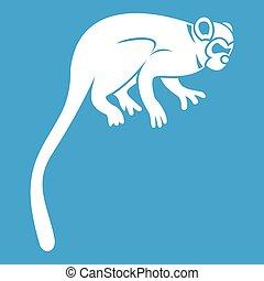 mono tití, blanco, mono, icono