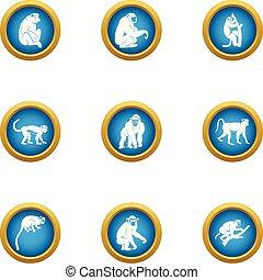 mono tití, conjunto, estilo, iconos, plano