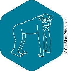 mono tití, icono, estilo, mono, contorno
