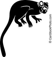 mono tití, icono, estilo, mono, simple