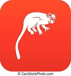 mono tití, icono, mono, rojo, digital