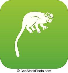 mono tití, icono, verde, mono, digital