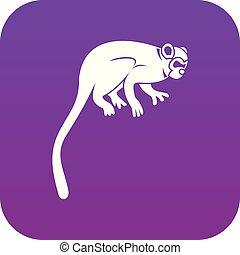 mono tití, púrpura, icono, mono, digital