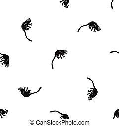 mono tití, patrón, negro, mono, seamless