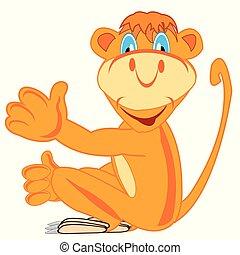 mono tití, vector, alegre, ilustración, caricatura
