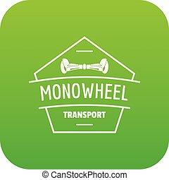 Mono wheel icon green vector