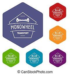Mono wheel icons hexahedron