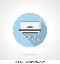 Monoblock air conditioning round flat vector icon