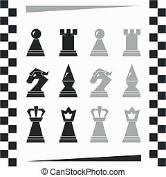 monochróm, šachové figurky, silueta
