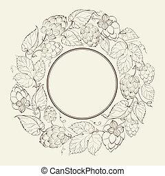 monochróm, kruh, o, ovoce, chmel