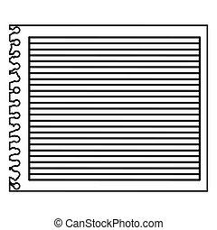 monochrom, csíkos, jegyzetfüzet, ív, tiszta