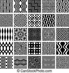monochrom, geometriai, állhatatos, patterns., seamless