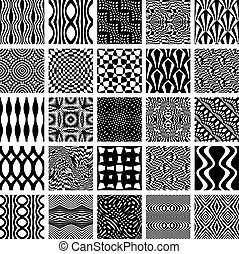 monochrom, geometrisch, satz, patterns., seamless