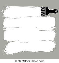 monochrom, grunge, brushstrokes, acryl, proben, geschaffen, mit, paintbrush., wand, gemälde, vektor, begrifflich, illustration.