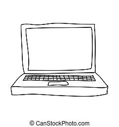 monochrom, laptop-computer, kontur