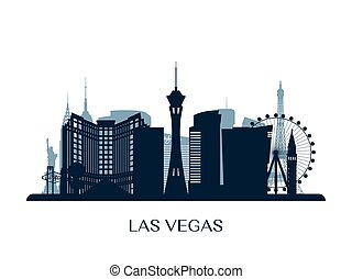 monochrom, las vegas, skyline, las, silhouette.