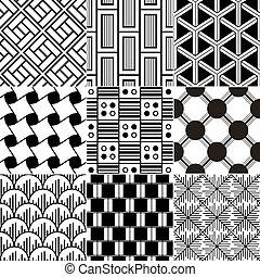 monochrom, seamless, geometrisch, patte