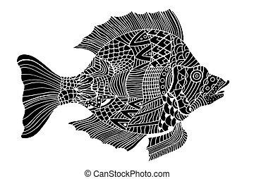 monochrom, stilisiert, fische