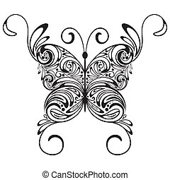 monochrom, vektor, papillon, t�towierung