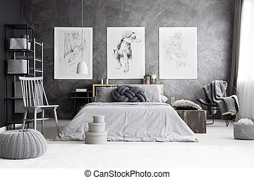 Monochromatic bedroom with king-size bed