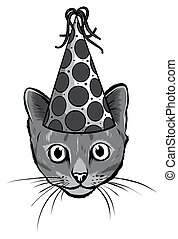 monochromatic Birthday cards set with cute cartoon cats. Balloons and party hats, hearts and confetti. Vector contour image. Little kittens