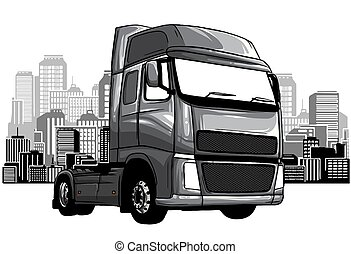 monochromatic Cartoon Garbage Truck isolated on white background. vector