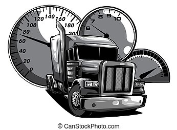 monochromatic Cartoon semi truck. vector illustration design art
