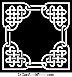 Monochromatic Celtic knot frame, made of heart shaped knots,...