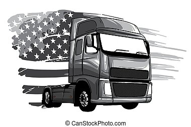 monochromatic Classic American Truck. Vector illustration with american flag