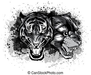 monochromatic Combined faces of lion and tiger. vector illustration