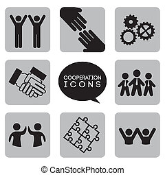 monochromatic cooperation icons over white background vector illustration