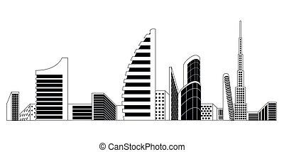 Monochromatic Dubai cityscape