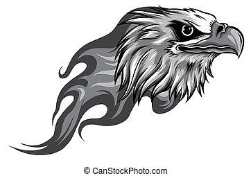 monochromatic Eagle Head with Flames vector illustration design