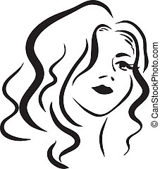 monochromatic face of beautiful woman - Image with portrait ...