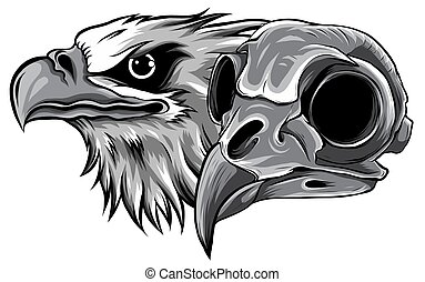 monochromatic Mascot Head of an Eagle vector illustration