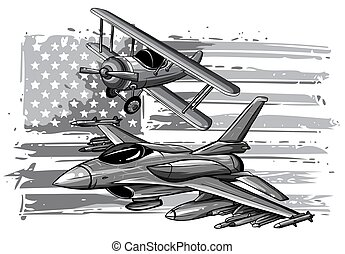 monochromatic Military plane fired a missile. Fighter jet ...