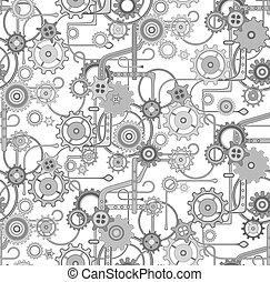 monochromatic., modello, grigio, seamless, vettore, fondo, meccanico