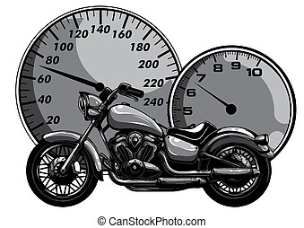 monochromatic Motorbike rider, abstract vector silhouette. Road motorcycle racing