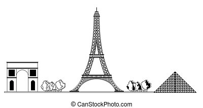 Monochromatic Paris cityscape