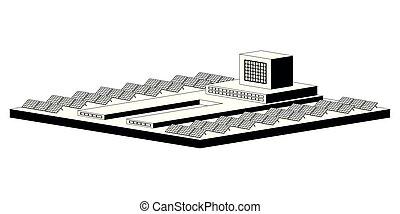 Monochromatic solar power plant. Vector illustration design