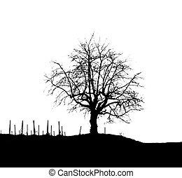 Monochromatic Tree Silhouette 3
