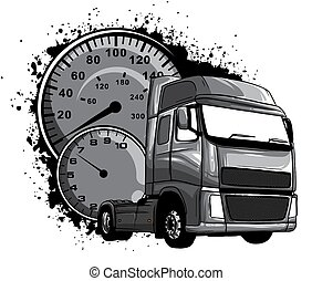 monochromatic Vector cartoon semi truck illustration design art