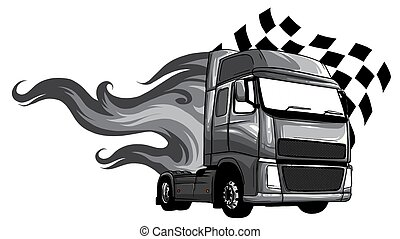 monochromatic Vector Cartoon Semi Truck. vector illustration design